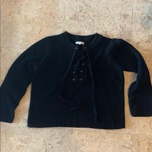 Black sweater with tie up front